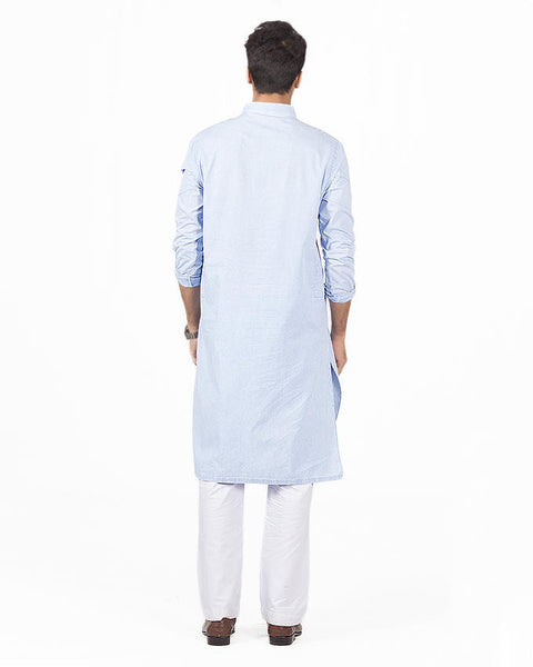 Light Blue designer Kurta With Italian Washes Product Code RDK-16136