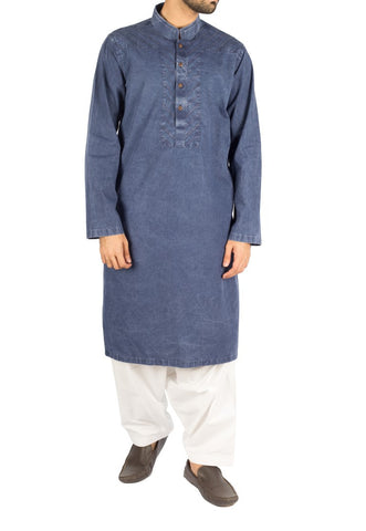 Denim Blue Cotton Kurta with Designer Italian washing effects. Product Code RDK-16238