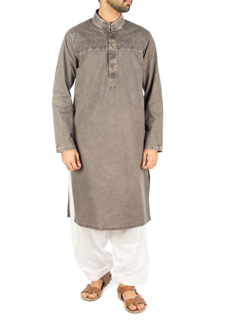 Image of Men Men Kurta Denim Grey Cotton Kurta with Designer Italian washing effects. Product Code RDK-16239