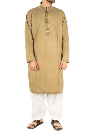 Vintage Green Cotton Kurta with Designer Italian washing effects. Product Code RDK-16240
