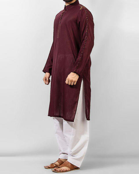 Image of Men Men Kurta colored Semi-formal Kurta in Blended Slub  FabricProduct Code RK-14142