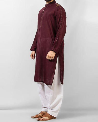 colored Semi-formal Kurta in Blended Slub  FabricProduct Code RK-14142