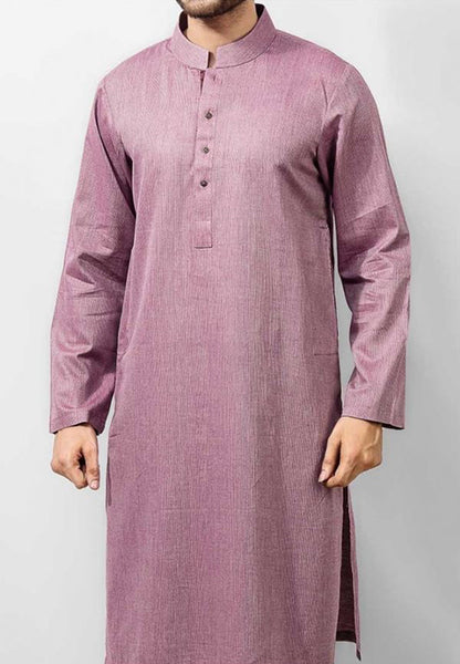 Mulberry (reddish voilet) Cotton Kurta in Dyed Yarn Fabric. Product Code RK-14126