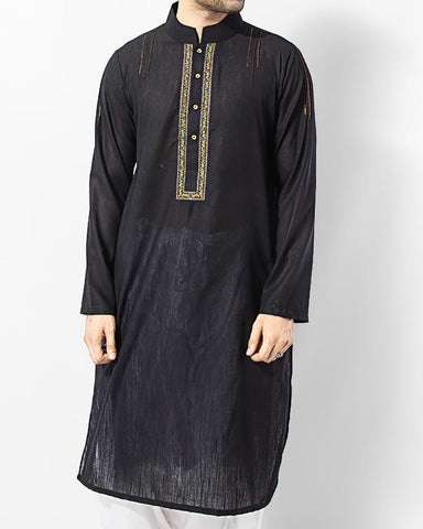 Image of Men Men Kurta Black Semi-formal embroidered Kurta in Blended Fabric.Product Code RK-15010