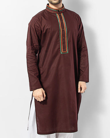 Image of Men Men Kurta Brown embroidered Cotton Kurta in Self Designed FabricProduct Code RK-15011