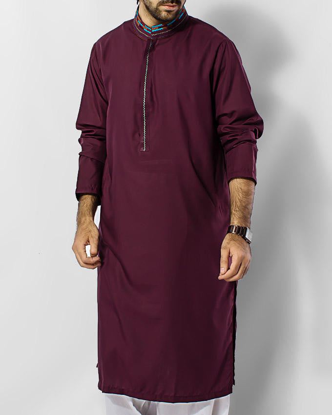 Image of Men Men Kurta Maroon colored Kurta with embroidery and thread workProduct Code RK-15025