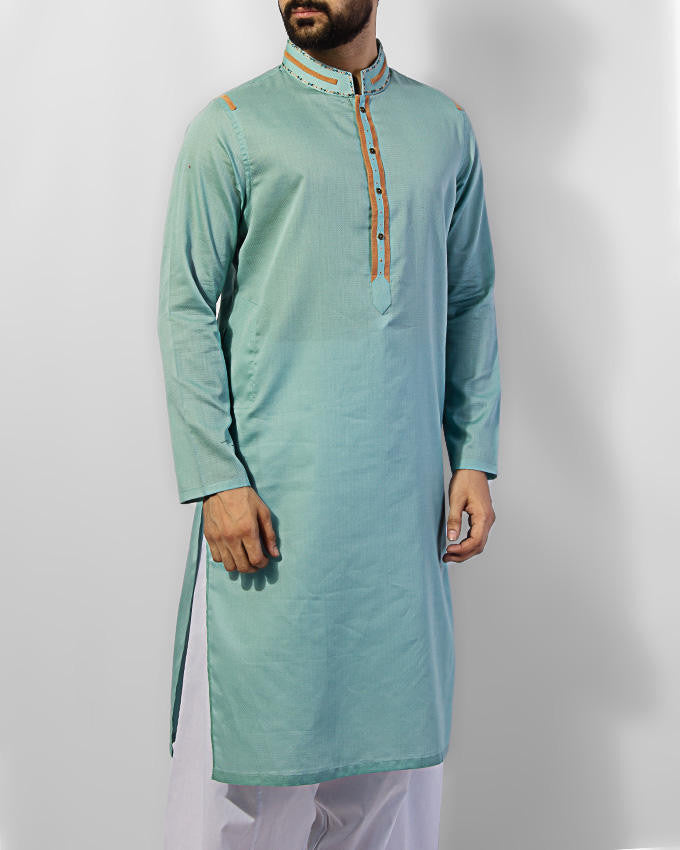 Dull Turquoise colored embroidered Kurta in 100% textured Cotton with applique work Product Code RK-15031