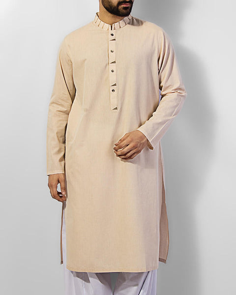 Image of Men Men Kurta Fawn Colored Kurta in 100% dyed yarn cotton with embroidery. Product Code RK-15032