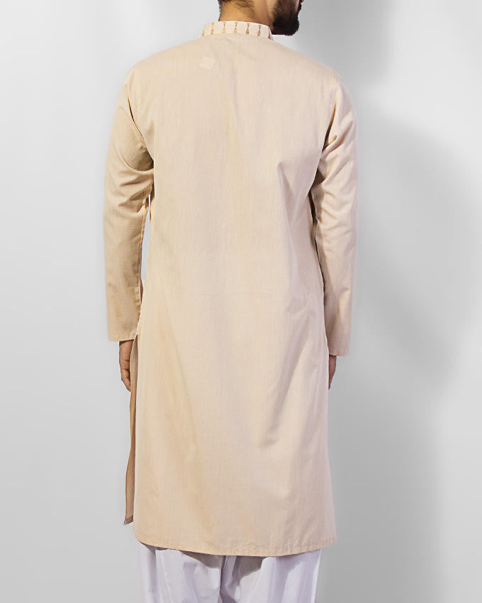 Fawn Colored Kurta in 100% dyed yarn cotton with embroidery. Product Code RK-15032