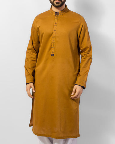 Mustard Brown Kurta in 100% Cotton Fabric with apllique and embroidery in contrast Blue color. Product Code RK-15034