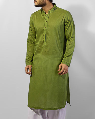 Image of Men Men Kurta Islamic Green Kurta with thread and applique work. Product Code RK-15035