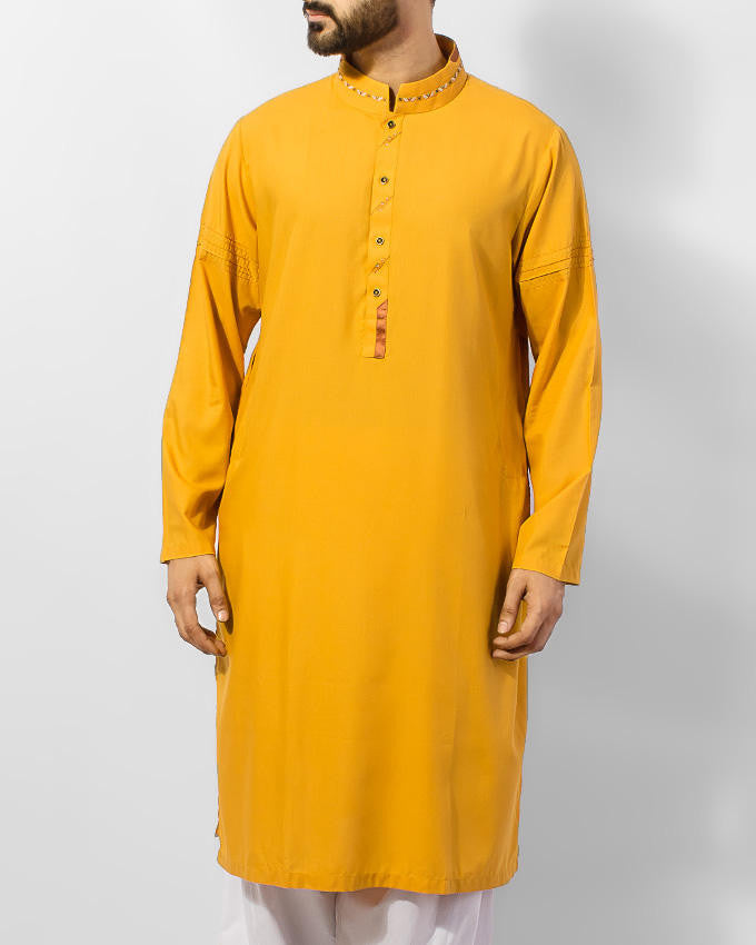 Image of Men Men Kurta Sun Gold (Yellow) colored Cotton Kurta in blended fabric with embroidery in colorful threads. Product Code RK-15051