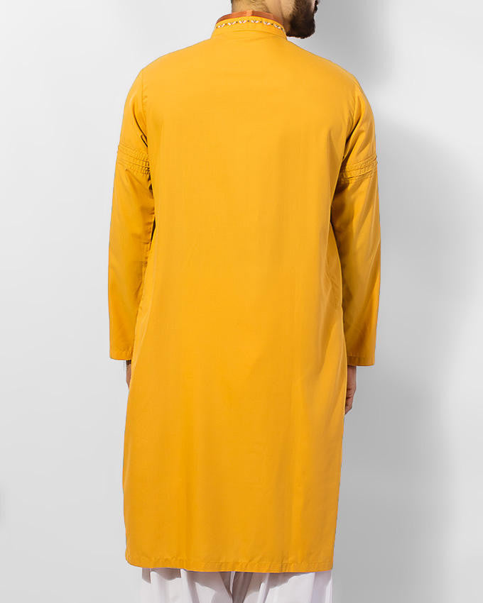 Sun Gold (Yellow) colored Cotton Kurta in blended fabric with embroidery in colorful threads. Product Code RK-15051