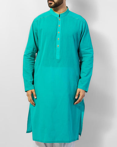 Image of Men Men Kurta Turquoise colored Kurta thread work Product Code RK-15053