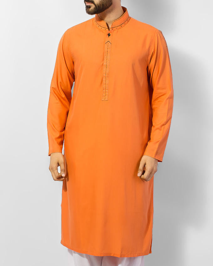 Orange Kurta with embroidered collar, placket and shoulder tips Product Code RK-15054