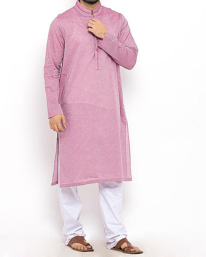 Lavender Pink Cotton Kurta in Textured Cotton fabric Product Code RK-15302