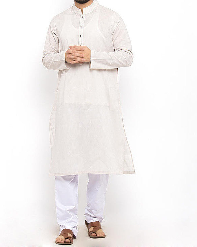 Image of Men Men Kurta Smoke Grey Cotton Kurta inTextured Fabric with Thread Work .Product Code RK-15303