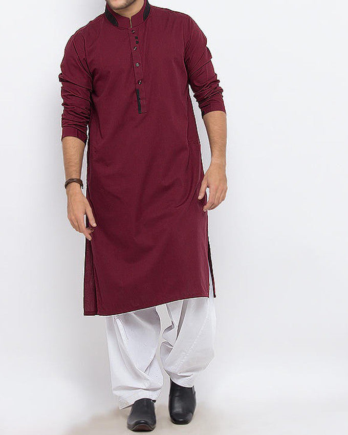 Image of Men Men Kurta in Maroon SKU: RK-15331-Small-Maroon