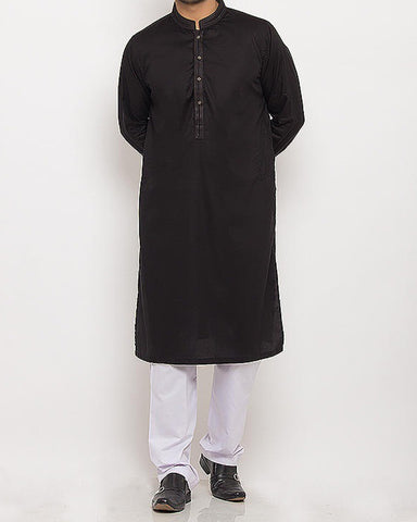 Black Cotton Kurta With Thread Work Product Code RK-15339