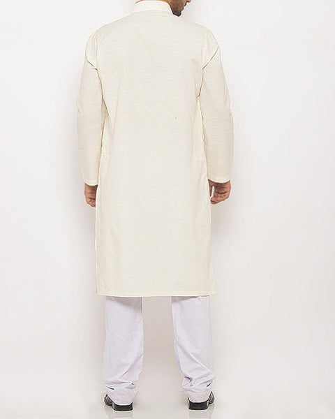 Cream colored Kurta in blended fabric with light applique work. Product Code RK-16105
