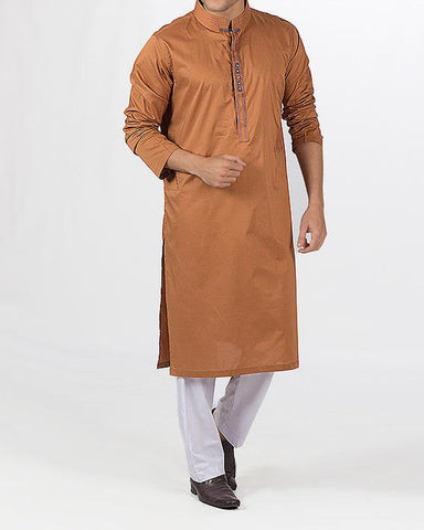 Dull Tangerine colored Kurta in 100 % fine Cotton with embroidery and applique work. Product Code RK-16109