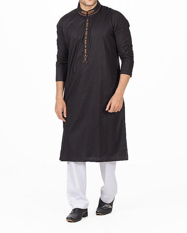 Image of Men Men Kurta Black Kurta in 100 % Cotton With Embroidery and Applique Work. Product Code RK-16133