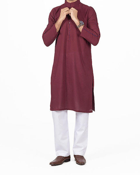 Dark Red Kurta in Blended Voile fabric with Applique & Thread work. Product Code RK-16147