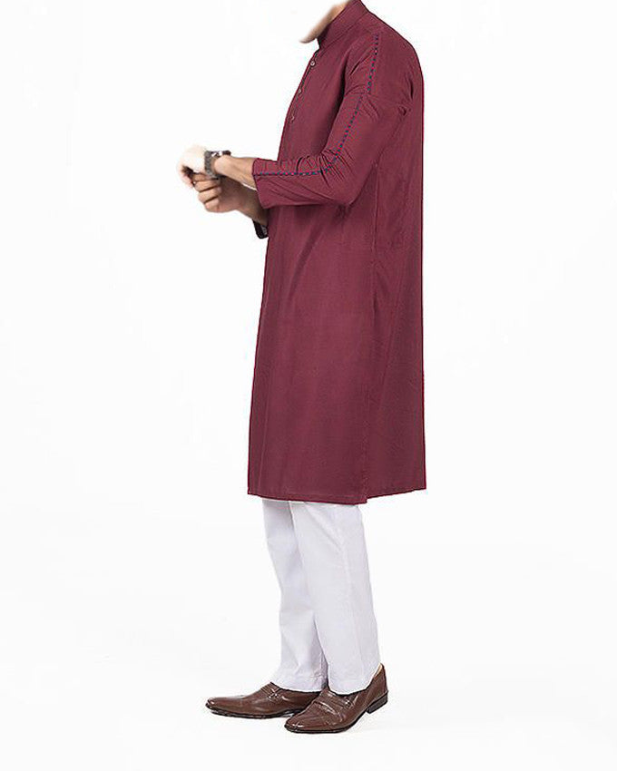 Image of Men Men Kurta in Dark Red SKU: RK-16147-Small-Dark Red
