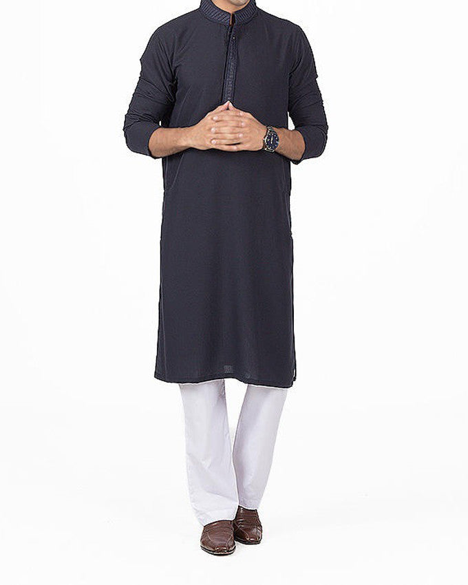 Image of Men Men Kurta in Midnight Blue SKU: RK-16148-Small-Midnight Blue