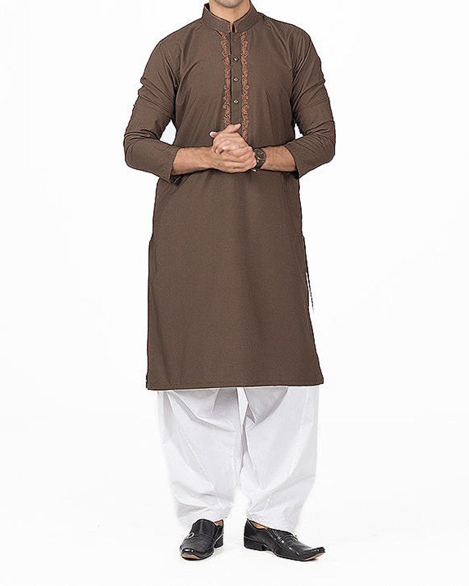 Umber Brown Embroidered Kurta in Blended Fabric. Product Code RK-16151