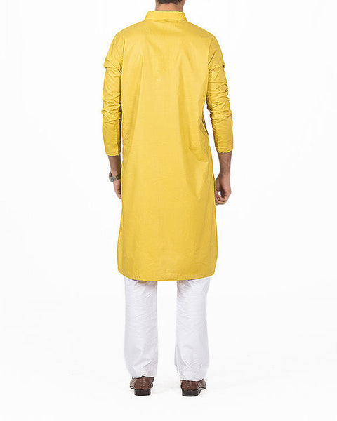 Turkish Yellow Kurta in 100% Cotton with Stylish Cuts. Product Code RK-16153