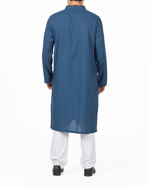 Cyan Blue Kurta in blended voile fabric with Embroidery in colorful threads. Product Code RK-16154