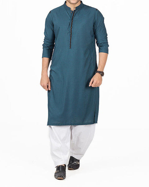 Teal colored Kurta in blended voile fabric with applique & thread work Product Code RK-16160