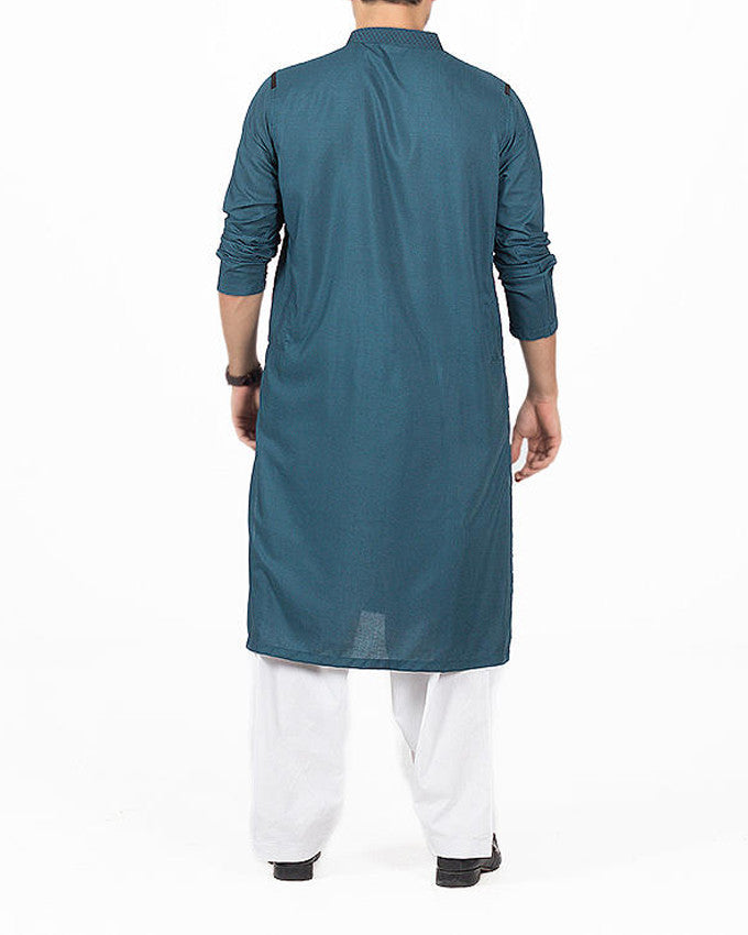 Image of Men Men Kurta in Teal SKU: RK-16160-Small-Teal