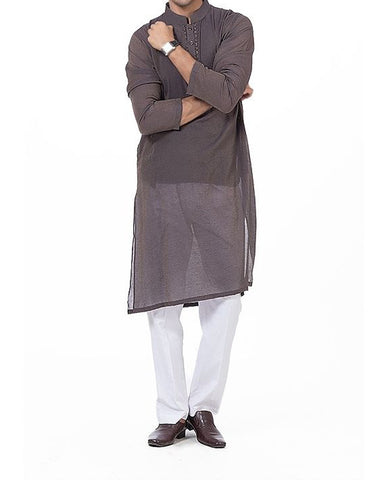 Charcoal Grey designer Kurta in blended fabric with copper-gold embroidery Product Code RK-16170