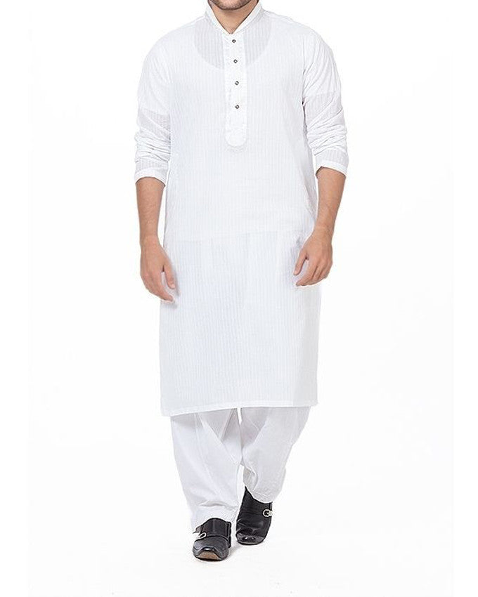 White Kurta in self designed Cotton with Silver jamawar Applique. Product Code RK-16171