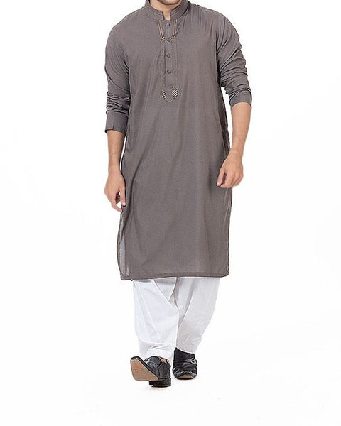 Pebble Grey Kurta in blended fabric with thread work in multiple colors. Product Code RK-16176