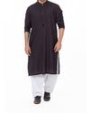 Image of Men Men Kurta Black-n-Red designer Kurta in blended fabric with Pleats & applique work Product Code RK-16178