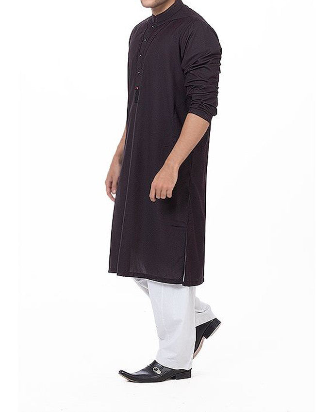 Black-n-Red designer Kurta in blended fabric with Pleats & applique work Product Code RK-16178