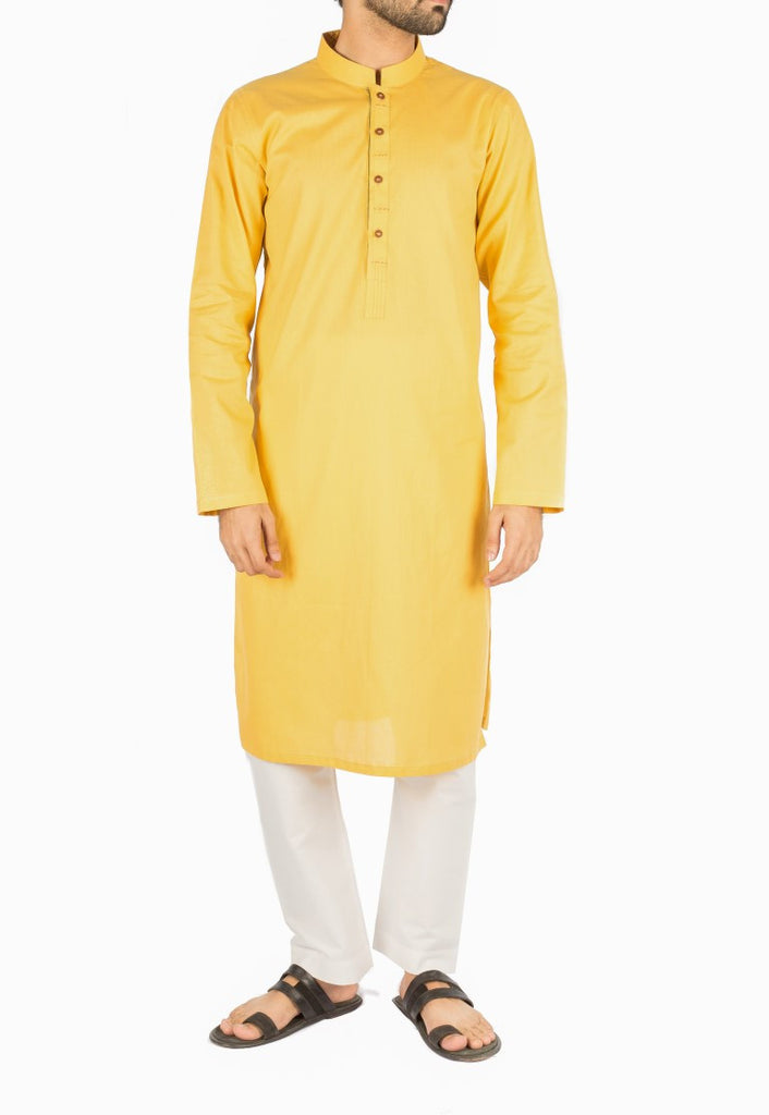 Butterscotch Kurta in Dyed yarn Cotton fabric with Embroidery and Applique work. Product Code RK-16235