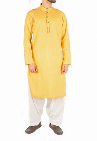Image of Men Men Kurta Canary Yellow Designer Kurta in 100% Cotton Fabric with detailed Thread and Applique work. Product Code RK-16236