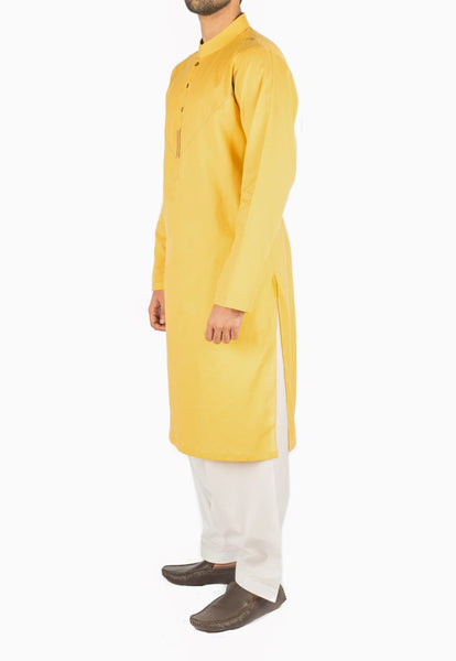 Canary Yellow Designer Kurta in 100% Cotton Fabric with detailed Thread and Applique work. Product Code RK-16236