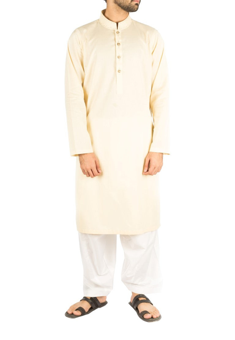 Image of Men Men Kurta Pure Cream Kurta in Cotton fabric with Hand Embroidery. Product Code rk-16241