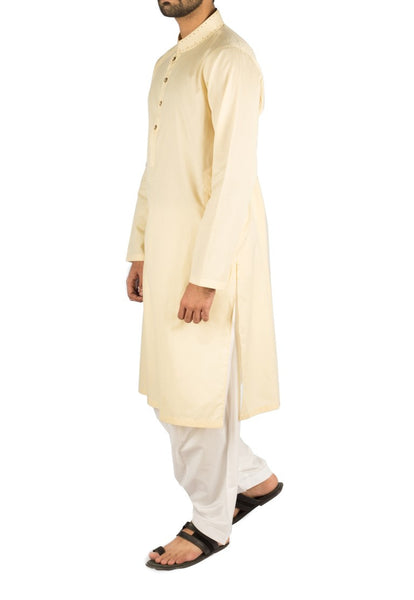Pure Cream Kurta in Cotton fabric with Hand Embroidery. Product Code rk-16241