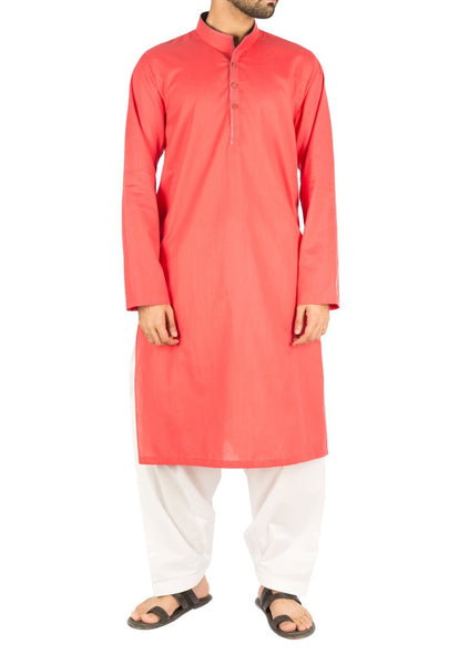 Scarlet colored Kurta in 100% Dyed Yarn Cotton with Unique collar cut. Product Code RK-16244