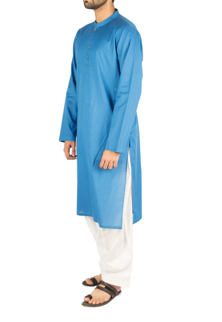 Image of Men Men Kurta in Azure SKU: RK-16245-Small-Azure