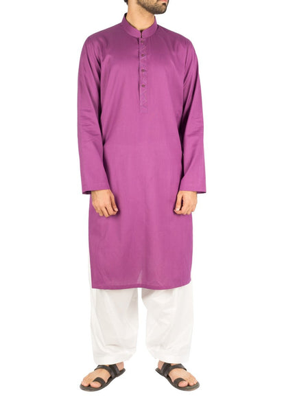 Voilet Kurta in 100% Dyed Yarn Cotton with slight Thread work. Product Code RK-16246