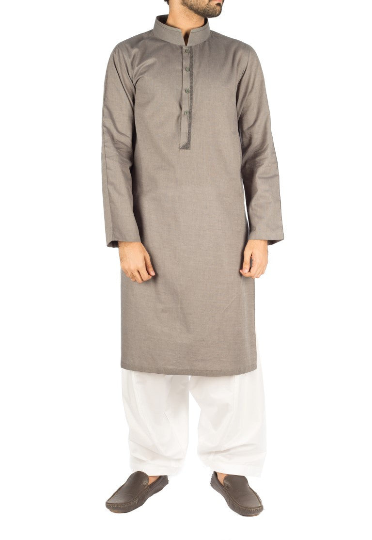Image of Men Men Kurta Slate Grey Cotton Kurta. Product Code. RK-16252
