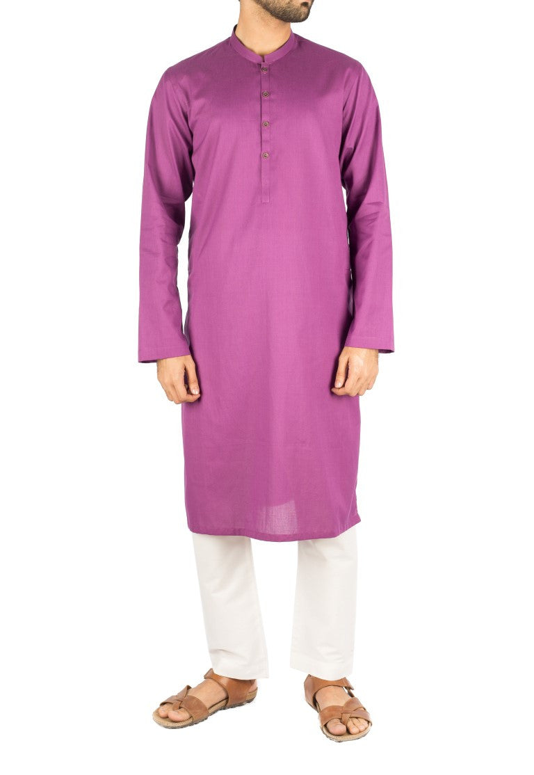Image of Men Men Kurta Purple Kurta in Dyed Yarn Cotton. Product Code RK-16253