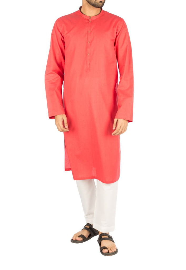 Vermilion Kurta in Dyed Yarn Cotton. Product Code RK-16262